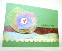 a Card with a drier sheet flower
