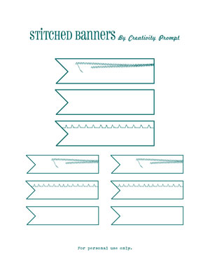 Free stitched journaling banners