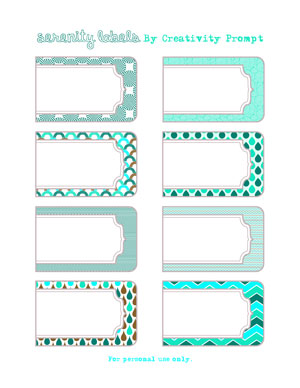 Friday Freebie – Serenity Printable Labels | Creativity Prompt
