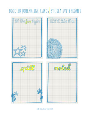 photo about Free Printable Journal Cards identified as Totally free Printable Doodled Journaling Playing cards Creative imagination Instructed