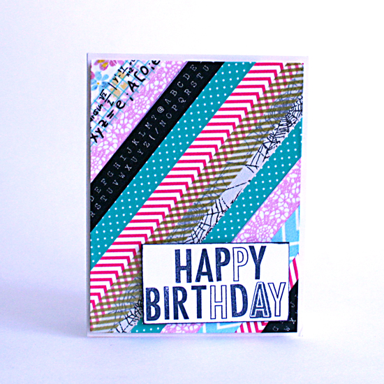 Washi tape Happy Birthday card